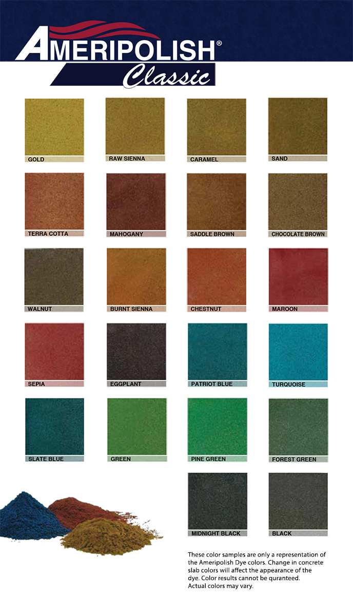 Color charts texas stained concrete inc ameripolish classic colors nvjuhfo Gallery